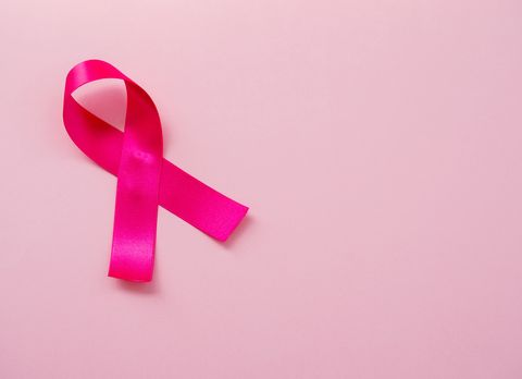 A pink ribbon on a pastel pink background. Breast cancer concept