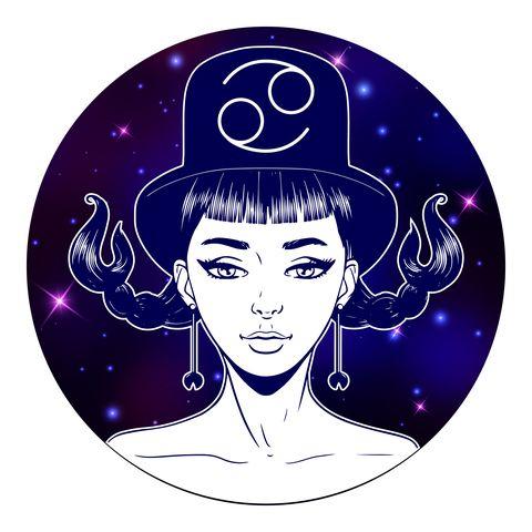 cancer zodiac sign artwork, beautiful girl face, horoscope symbol, star sign, vector illustration