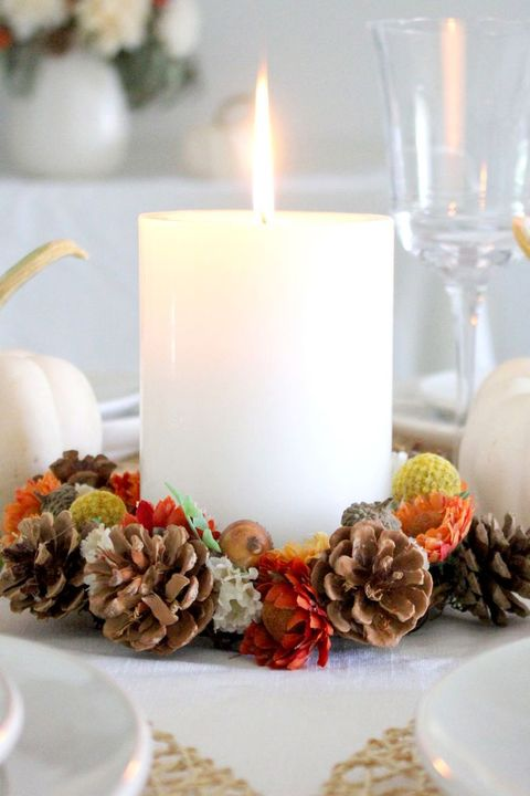 candle wreath thanksgiving decorations