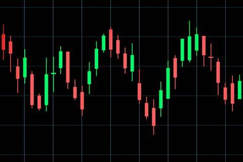 candlestick chart on black background