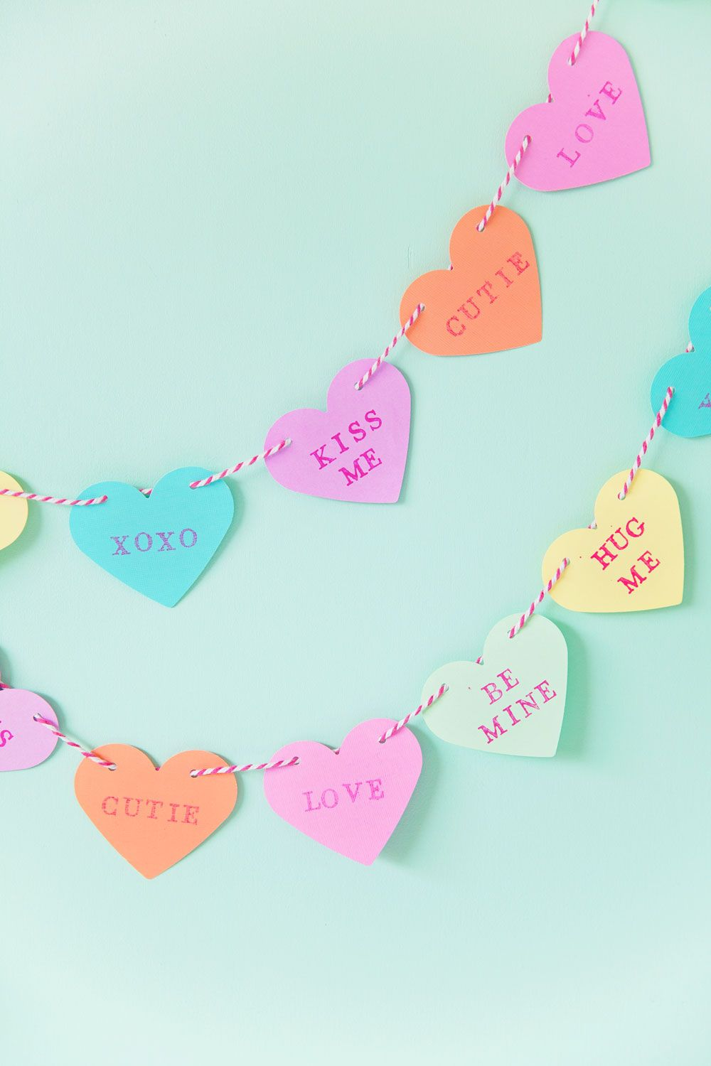 Candy Hearts Garland - Valentine's Day Crafts