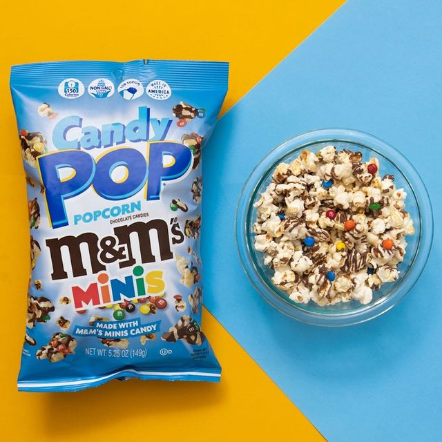 snack pop popcorn made with mm's minis