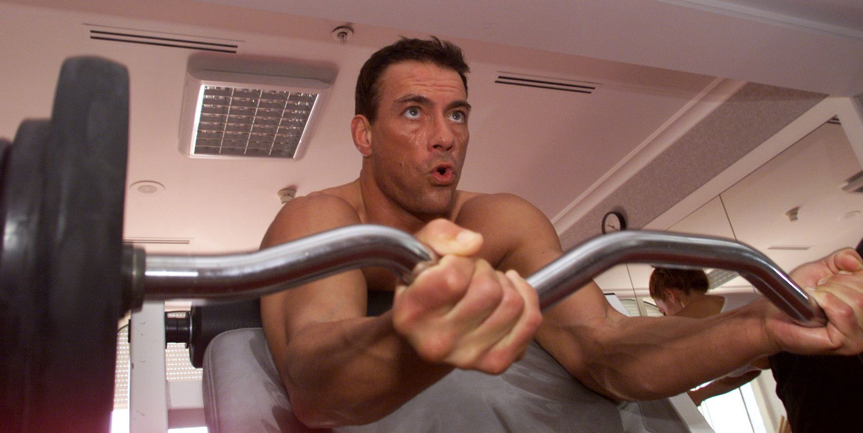 008263.CA.0512.Cannes.12.AS Cannes France. Actor Jean–Claude Van Damme works out with L.A. Times wri