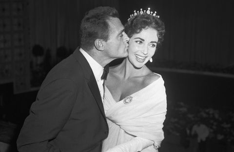 Mike Todd and Liz Taylor Kissing at Cannes