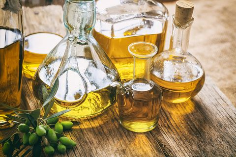 Bottles of olive oil on a table
