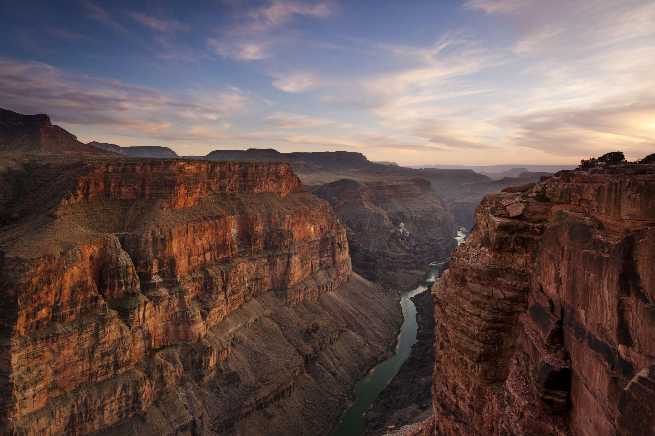 Canyon and river at sunset.  Toroweap Overlook, Grand Canyon, Arizona.