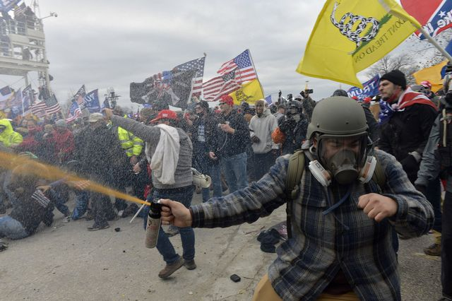 trump supporters clash with police and security forces as people try to storm the us capitol building in washington, dc, on january 6, 2021   demonstrators breeched security and entered the capitol as congress debated the a 2020 presidential election electoral vote certification photo by joseph prezioso  afp photo by joseph preziosoafp via getty images