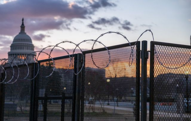 washington, district of columbia, united states   20210123 razor wire and fences still surround the united states capitol building at sunrise a few days after the inauguration of president joe biden and vice president kamala harris the capitol was breached during an insurrection january 6 just days before the inauguration photo by jeremy hogansopa imageslightrocket via getty images
