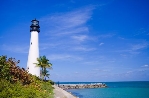 cape florida lighthouse at park in key biscayne summer