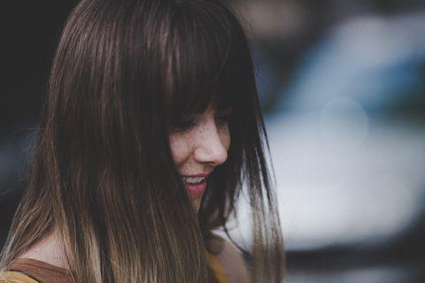 Hair, Face, Hairstyle, Lip, Long hair, Black hair, Beauty, Brown hair, Skin, Hair coloring,