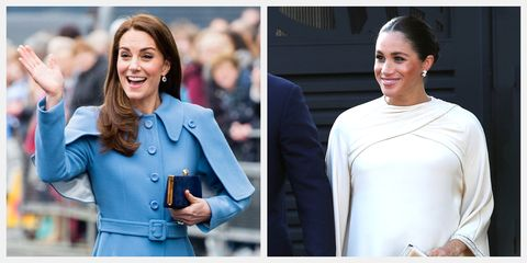 See how Kate Middleton and Meghan Markle wear clothing with cape embellishment.