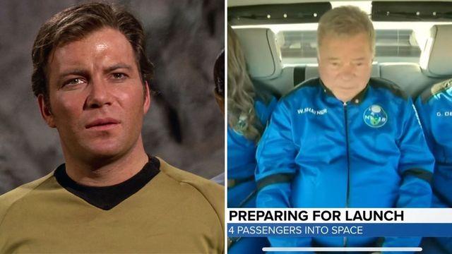 william shatner en un fotograma de star trek y en su viaje al espacio con blue origin