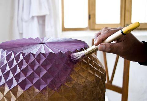 Purple, Textile, Linens, Room, Furniture, Umbrella, Interior design, Lampshade,