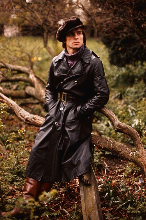 Clothing, Outerwear, Jacket, Raincoat, Overcoat, Autumn, Tree, Coat, Leather, Plant,