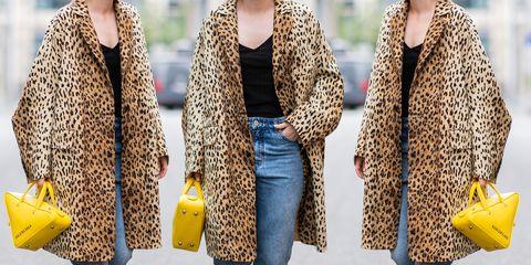 Clothing, Yellow, Fur, Outerwear, Street fashion, Fashion, Jeans, Textile, Scarf, Stole,