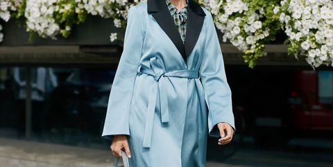 Clothing, White, Robe, Trench coat, Street fashion, Coat, Outerwear, Fashion, Dress, Formal wear,