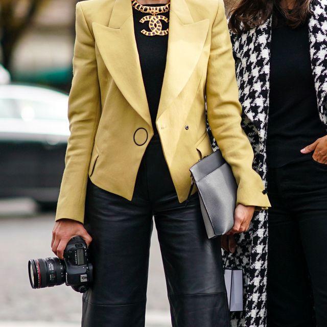 Clothing, Street fashion, Outerwear, Blazer, Fashion, Suit, Coat, Overcoat, Yellow, Jacket,