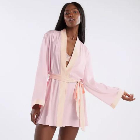 Clothing, White, Robe, Pink, Outerwear, Sleeve, Dress, Neck, Nightwear, Shoulder,