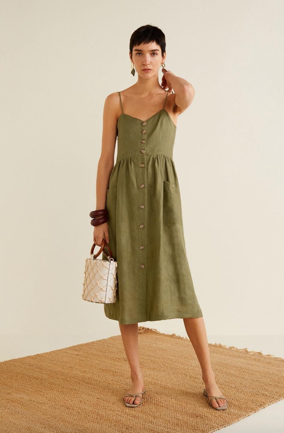 Paula echevarria vestido verde mango