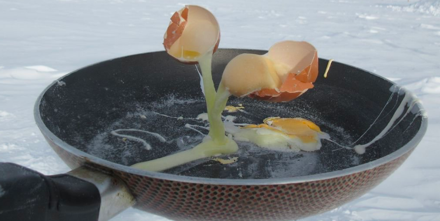 Freír un huevo en el Polo Sur es imposible