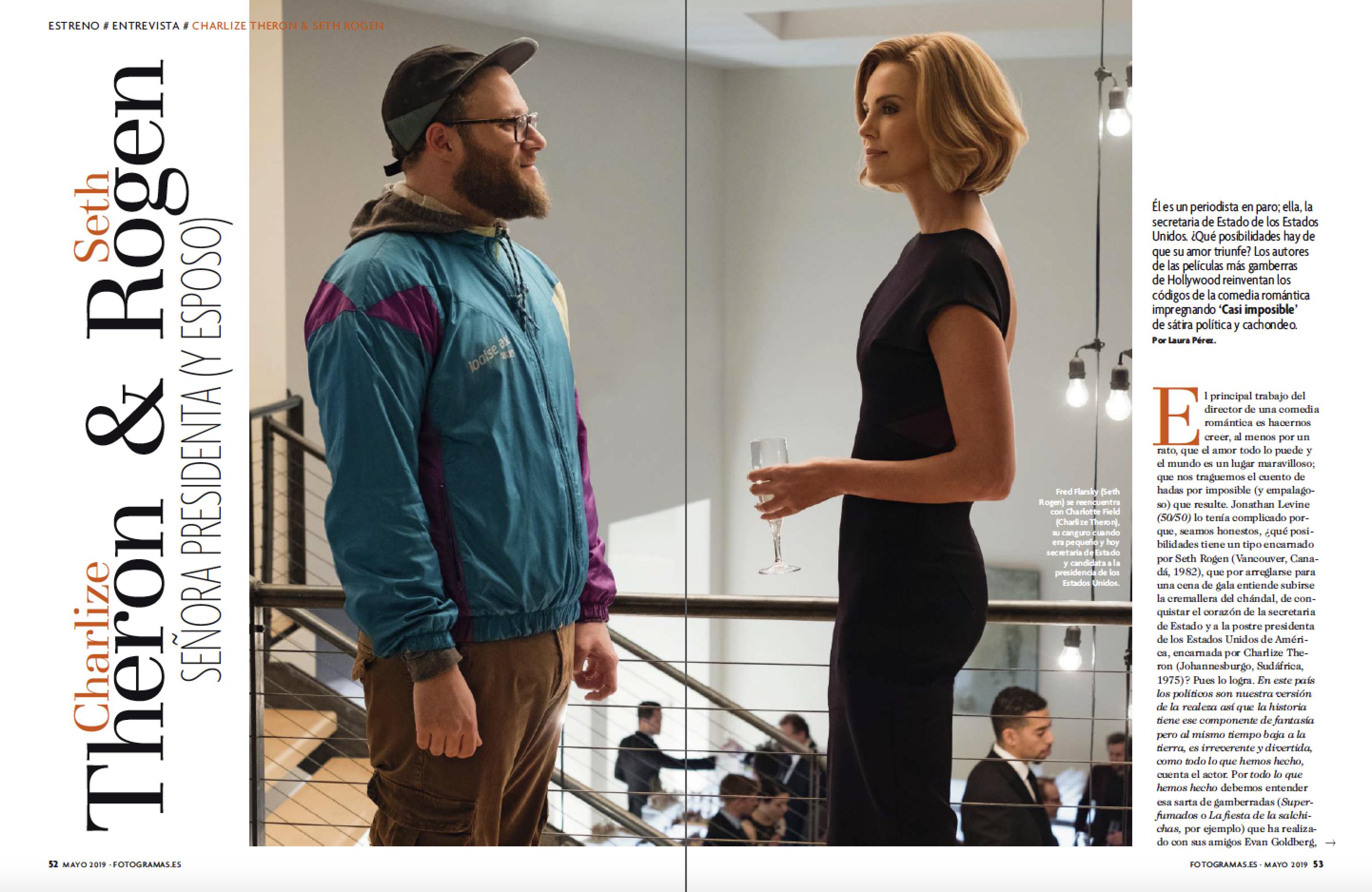 """Charlize Theron y Seth Rogen en """"Casi imposible"""""""
