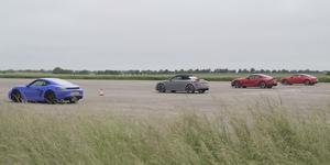 Toyota Supra, Audi TT RS, Alpine A110, Porsche Cayman GTS drag race