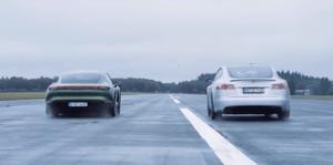 Porsche Taycan Turbo S vs Tesla Model S P100D drag race