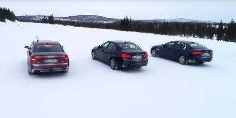 Audi A4 Quattro, BMW Serie 3 xDrive, Jaguar XE AWD, test tracción total en nieve.