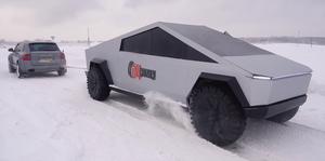 Tesla Cybertruck ruso vs Porsche Cayenne Turbo prueba de arrastre