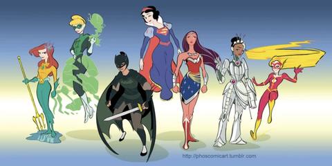Princesas Disney como Liga de la Justicia