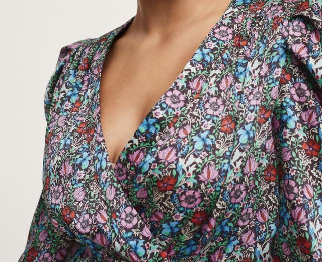 vestido de flores corto abullonado mango