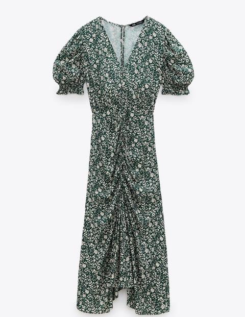 vestidos flores verde zara
