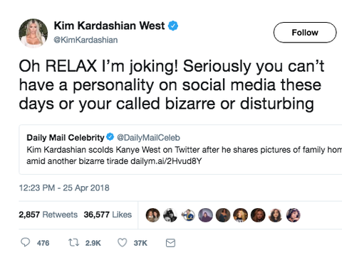 5355a98e57fb11 Kim Kardashian Responds to Kanye West s Tweets and Media Coverage ...