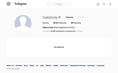Blake Lively Deletes All Her Instagrams, Unfollows Ryan