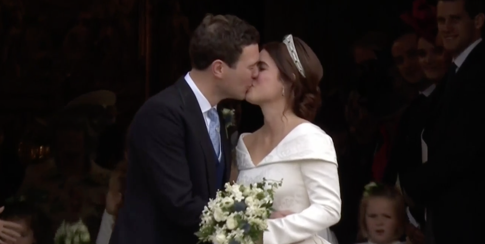 Princess Eugenie and Jack Brooksbank Share Their First Kiss at Their Royal Wedding