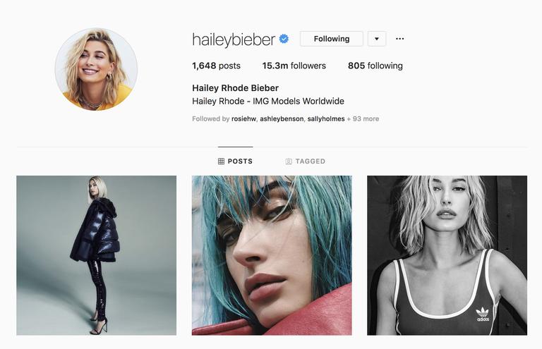 Akun Instagram Hailey Baldwin yang sudah diubah namanya menjadi Hailey Bieber (Elle.com)