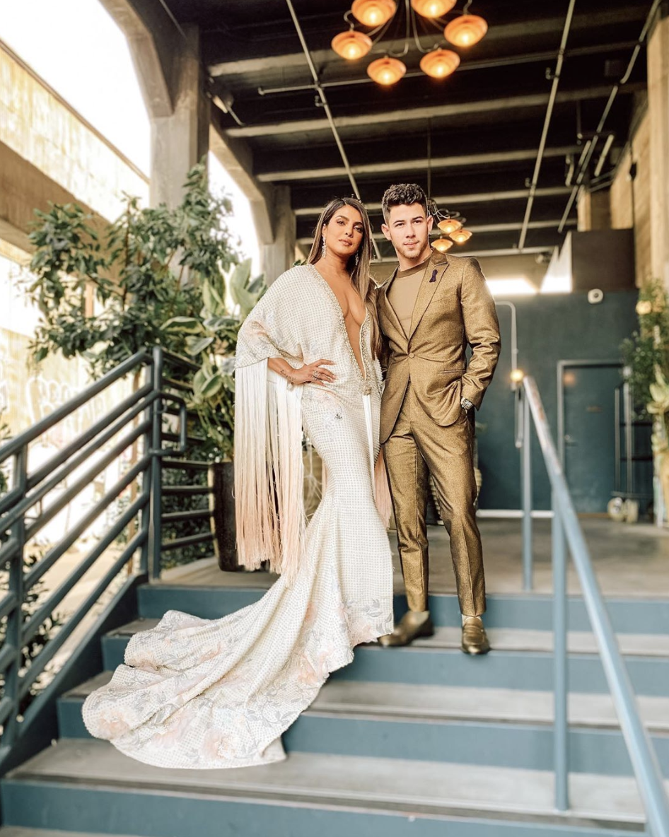 Priyanka Chopra and Nick Jonas Went All Out in a Plunge Dress and Gold Suit at the Grammys