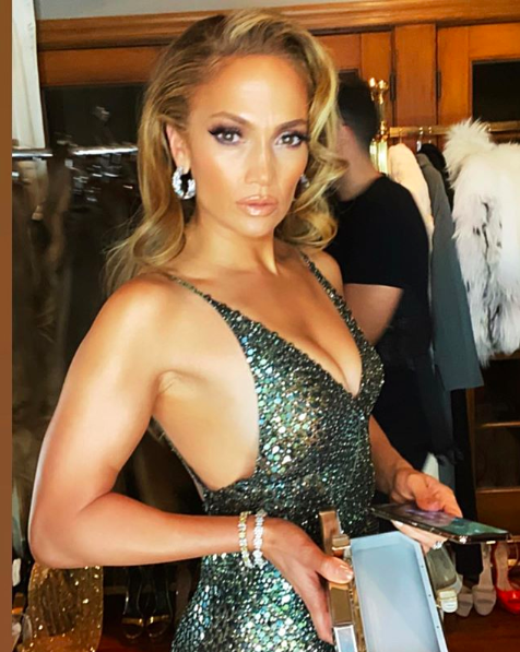 Here's Jennifer Lopez Looking Stunning in a Sequined High Slit Dress at an Oscar After Party