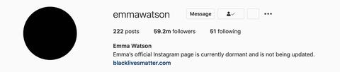 emma watson's instagram bio