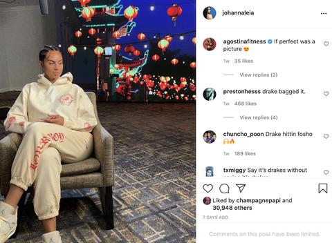 drake liking johanna's instagram of herself