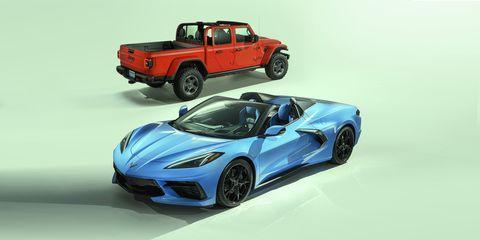 jeep gladiator and chevrolet corvette