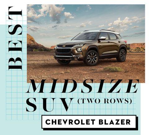best car awards best midsize suv two rows   chevrolet blazer