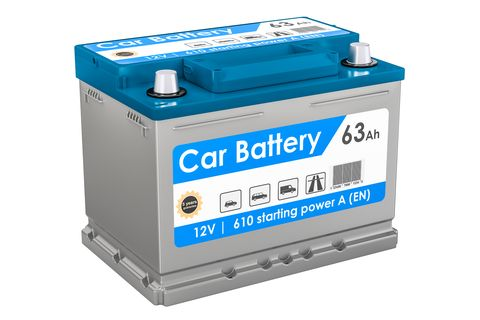 Car Battery Closeup Rendering Isolated On White Background