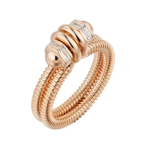 cartier ecrou rose gold and diamond ring