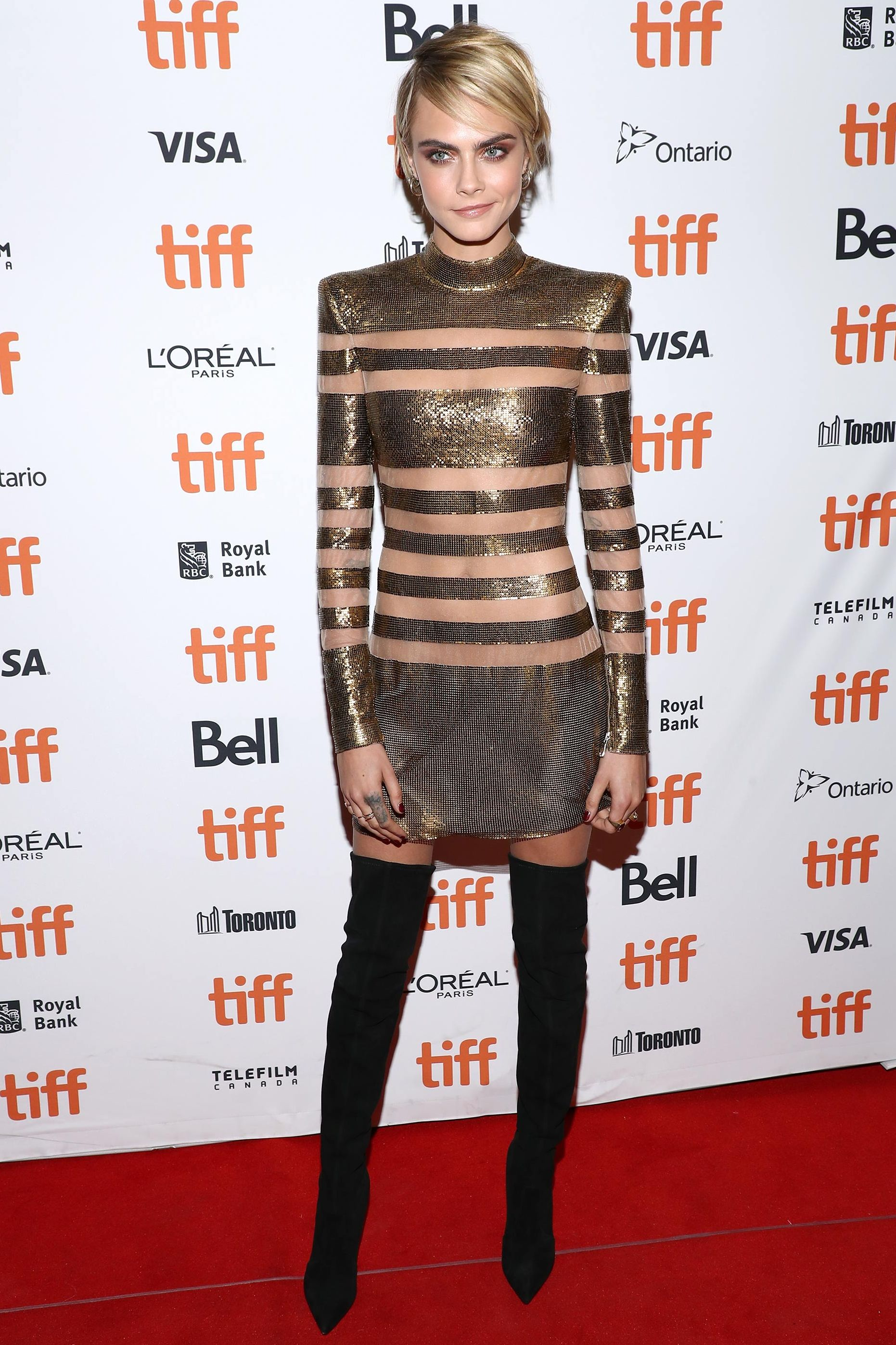 Cara Delevingne wearing a naked dress at the Toronto Film Festival