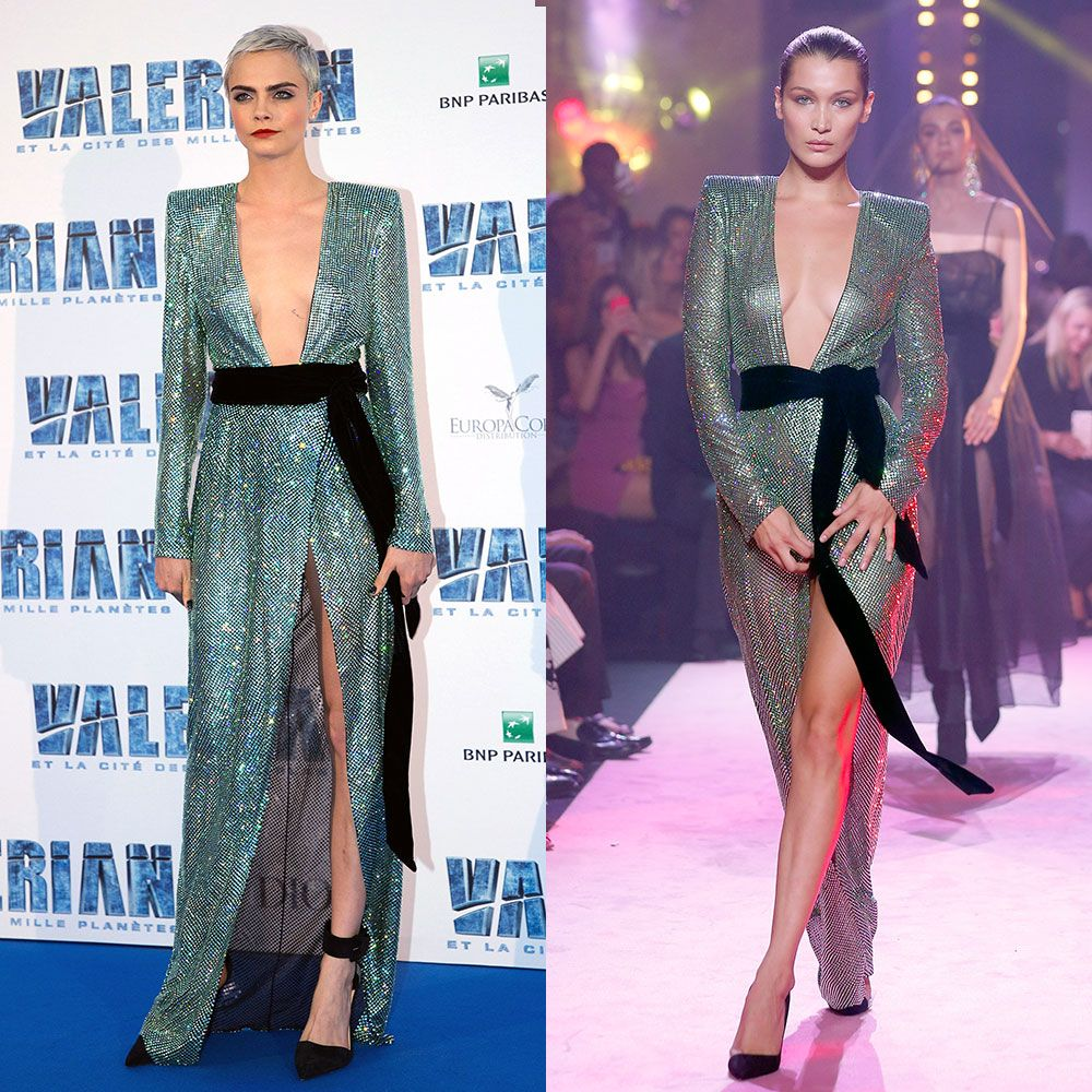 Cara Delevingne and Bella Hadid wearing the same dress