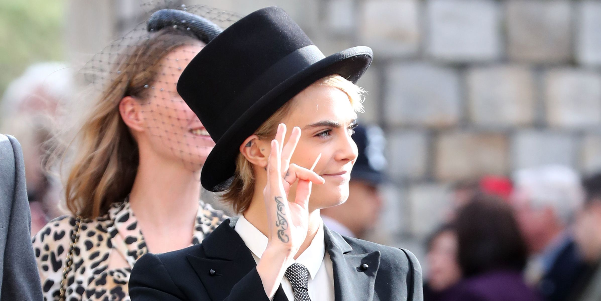 Cara Delevingne Wore a Dapper Suit and Top Hat to Princess Eugenie's Royal Wedding