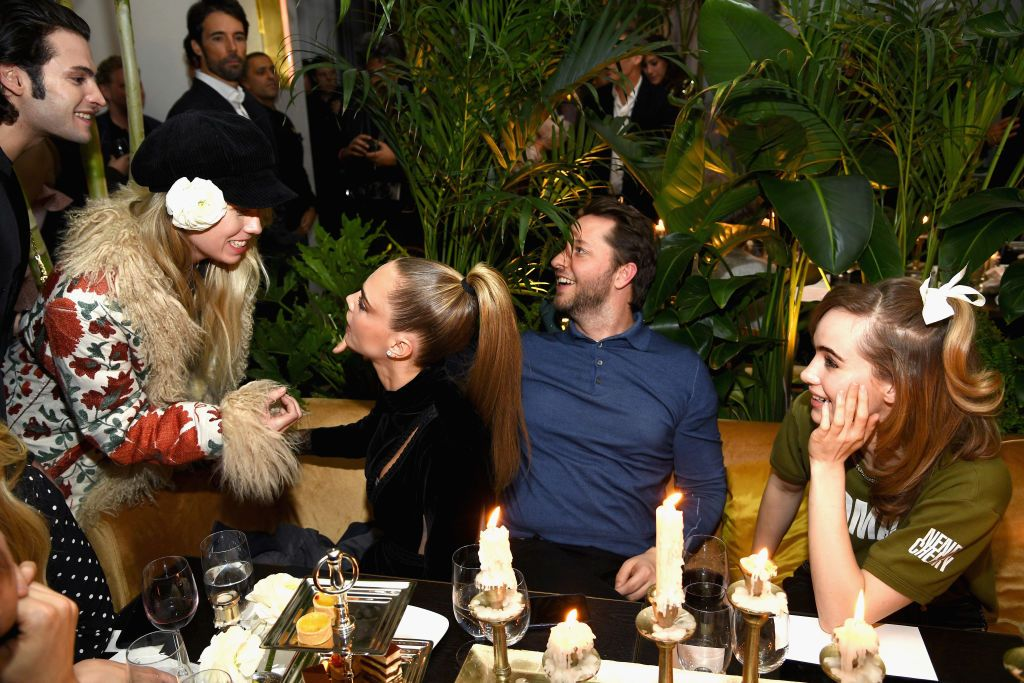 Cara Delevingne, Derek Blasberg, and Suki Waterhouse at the Edition's opening night.