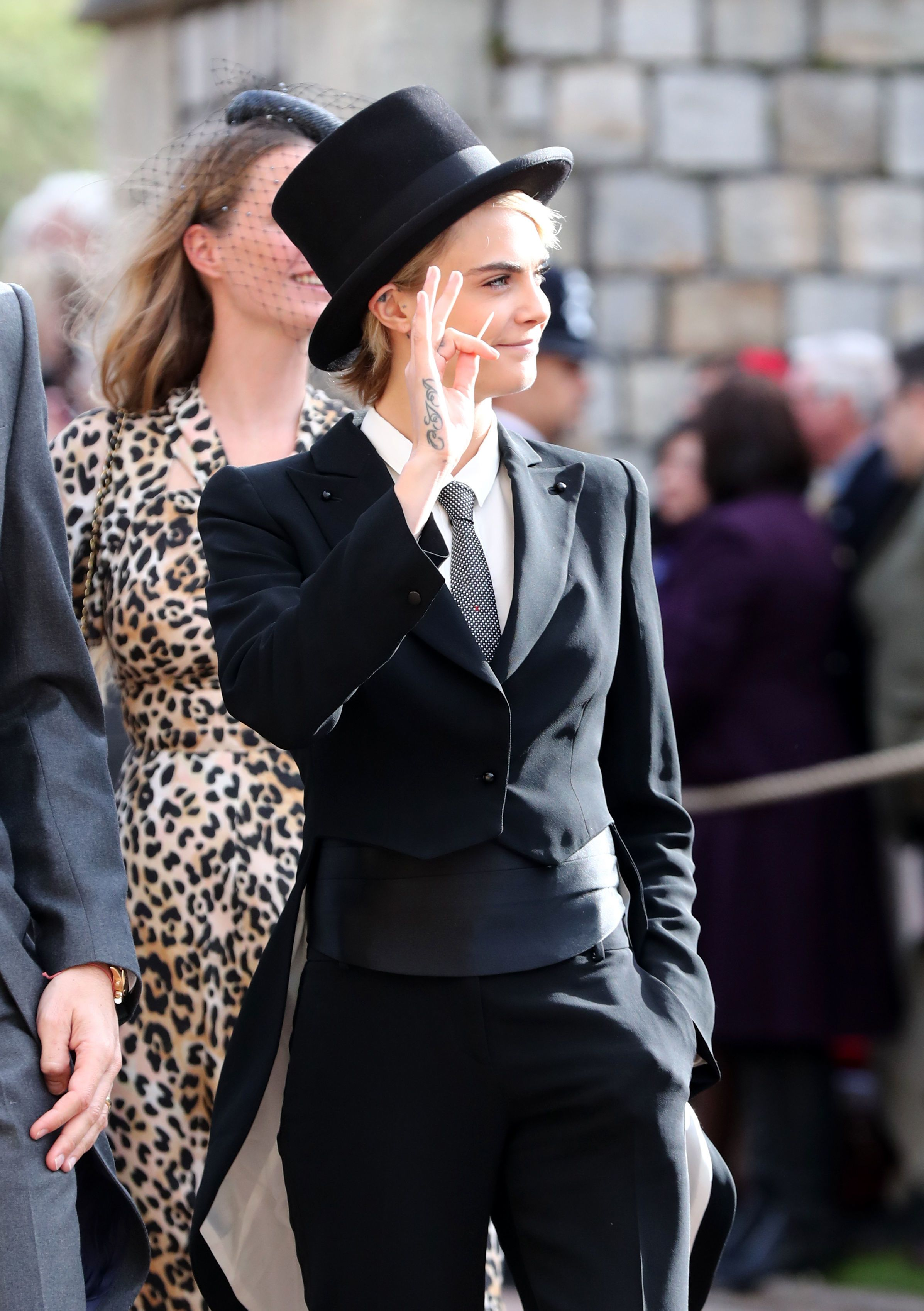 Cara Delevingne Rocked Up To The Royal Wedding Wearing An Actual Top Hat And Tails