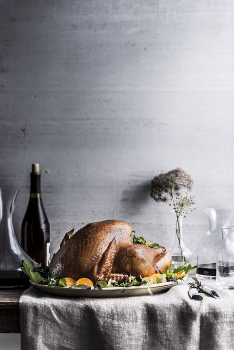 Carafe of wine on table with turkey